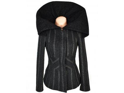 Dámský šedočerný kabát s límcem ZARA S