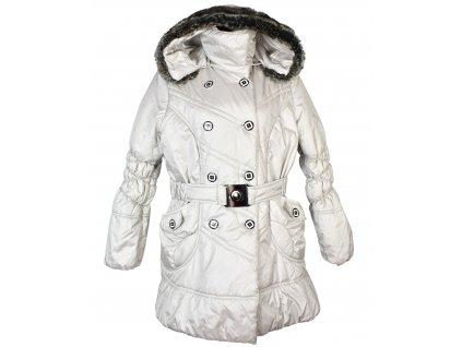 Dámský stříbrný prošívaný kabát s páskem a kapucí XXXL