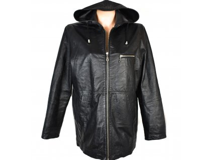 KOŽENÁ dámská černá měkká bunda na zip s kapucí XL