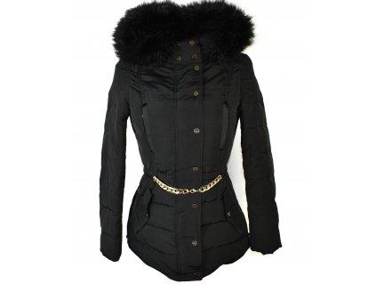 Péřový dámský černý kabát s kapucí ZARA S