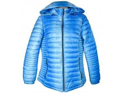 Dámská tyrkysová prošívaná bunda s kapucí XXL