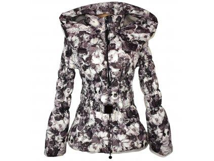 Dámský prošívaný hnědobílý kabát s páskem a kapucí M