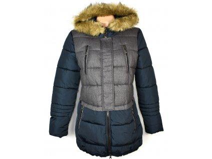 Dámský modrošedý prošívaný kabát s kapucí  M