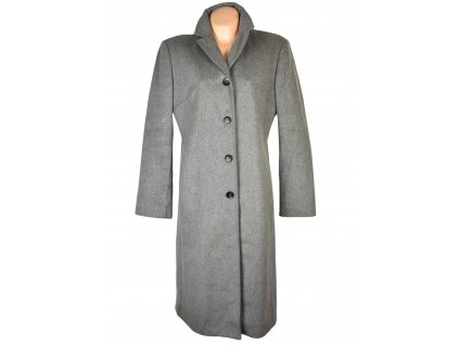 Vlněný (80%) dámský dlouhý šedý kabát Benetton XL