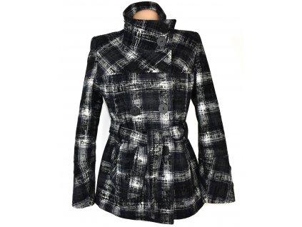 Vlněný dámský vzorovaný kabát s páskem 38