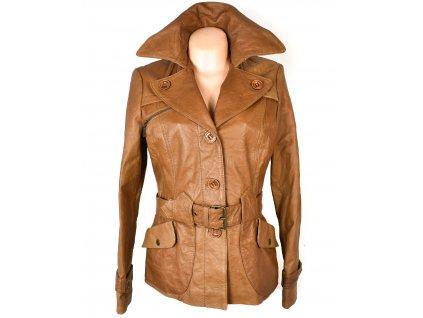 KOŽENÝ dámský hnědý měkký kabát s páskem Stradivarius S/M