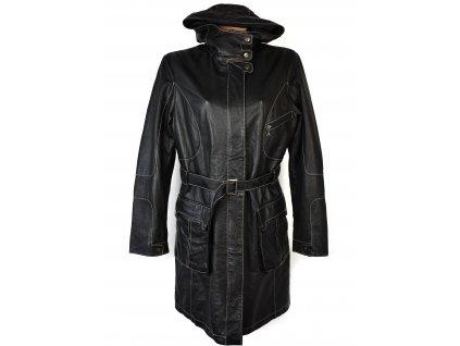 KOŽENÝ dámský černý měkký kabát s páskem a kapucí Julia Bergovich 44