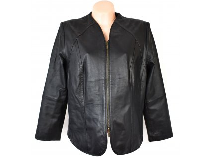 KOŽENÁ dámská černá měkká bunda na zip Fashion Concept XL