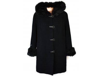 Vlněný (70%) dámský černý kabát Adrianno Damianii (vlna, kašmír) 44