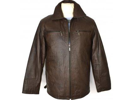 KOŽENÁ pánská hnědá měkká zateplená bunda na zip John F. Gee S