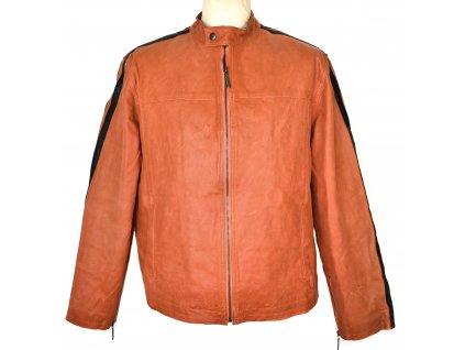 KOŽENÁ pánská oranžová bunda na zip Roy/Rene L