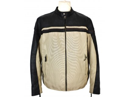 Pánská béžová zateplená bunda s koženými prvky DIFFERENT L