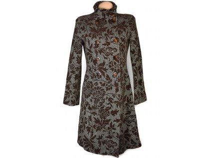 Vlněný (67%) dámský hnědý vzorovaný kabát Promod M