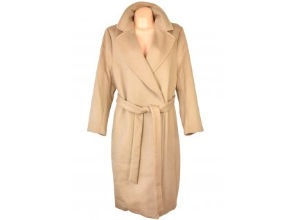 Vlněný (50%) dámský dlouhý hnědý kabát s páskem 54 - s cedulkou