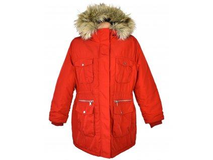 Dámská červená zimní parka s kapucí H&M XL