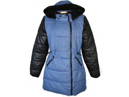 Dámský modrý prošívaný kabát s kapucí MSHLL GIRL L