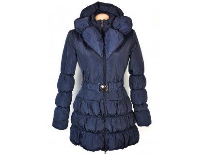 Dámský modrý prošívaný kabát s páskem a límcem M