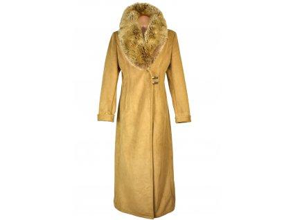 Dámský dlouhý hnědý zimní kabát s kožíškem Marlene 40 - 42