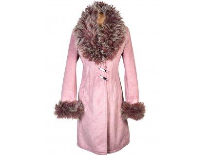 Dámský růžový kabát s kožíškem Marlene 36 - 38