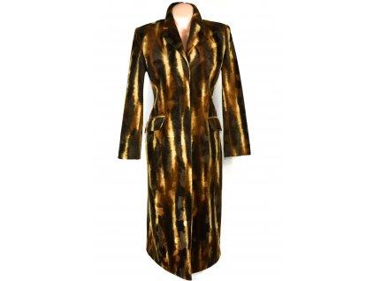 Dámský dlouhý hnědý podzimní kabát - zvířecí vzor S