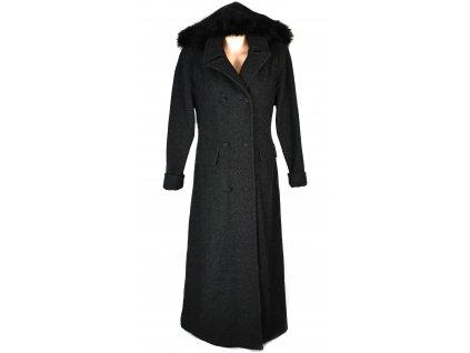 Vlněný (100%) dámský dlouhý šedočerný kabát s kapucí Maro M/L