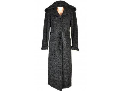 Vlněný (60%) dámský dlouhý šedočerný kabát s páskem a kapucí (vlna, kašmír) 40