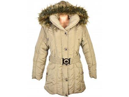Dámský béžový prošívaný zimní kabát s páskem a kapucí Grace L/XL