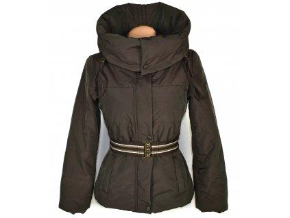 Dámský prošívaný kabát s páskem a límcem ZARA S