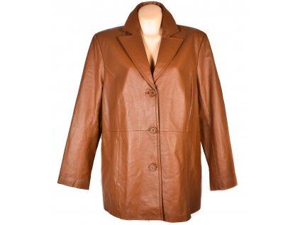 KOŽENÝ dámský koňakový kabát CERO XXXL