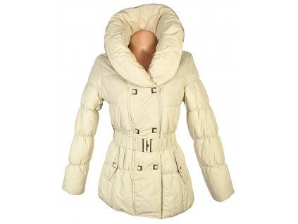Dámský krémový prošívaný kabát s páskem a límcem Ew Club S