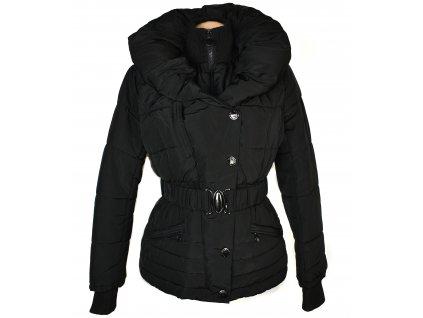 Dámský černý prošívaný kabát s páskem a límcem Afeil L