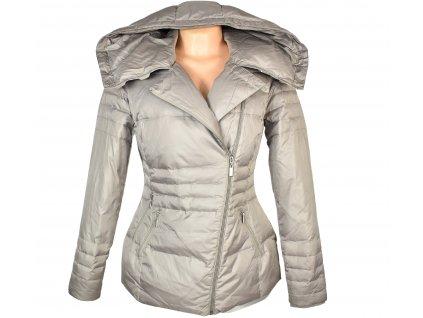 Péřový dámský prošívaný béžový kabát s páskem Laura Scott M