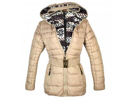 Dámský béžový prošívaný kabát s páskem a kapucí Tom Fashion S