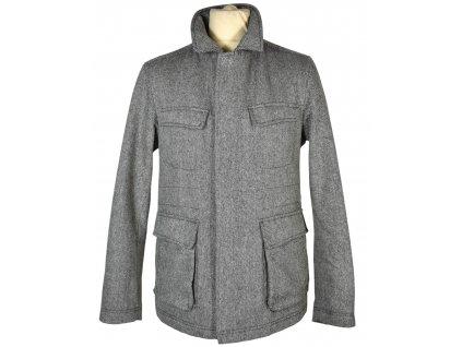 Vlněná (60%) pánská černobílá zateplená bunda na zip M