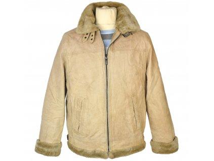 KOŽENÁ pánská béžová semišová zimní bunda na zip s kožíškem Canda M