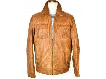 KOŽENÁ pánská hnědá měkká bunda na zip HEINE 48