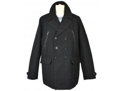 Vlněný pánský černý kabát SMOG XXL