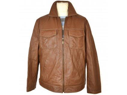 KOŽENÁ pánská hnědá měkká bunda na zip JCC