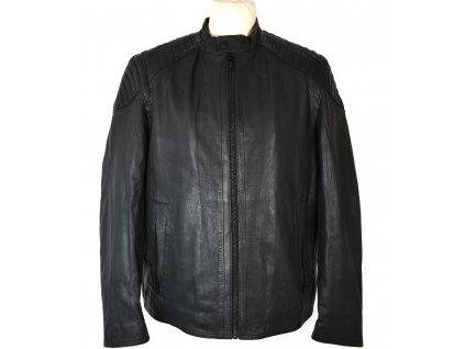 KOŽENÁ pánská šedá měkká zateplená bunda na zip Mc Neal L