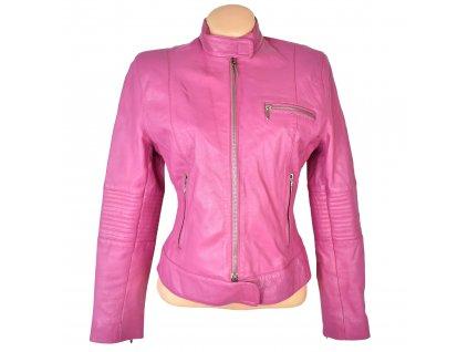 KOŽENÁ dámská růžová měkká bunda na zip GIPSY M