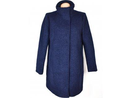 Vlněný (50%) dámský modrý kabát na zip Reserved 42