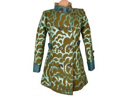 Dámský zelený vzorovaný kabát S/M
