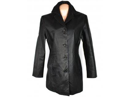 KOŽENÝ dámský černý měkký kabát 44