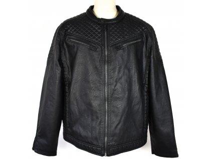 Pánská černá zateplená koženková bunda Angelo Litrico XXL