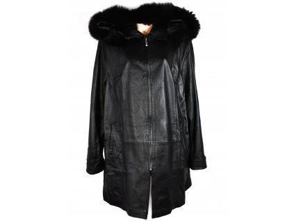 KOŽENÝ dámský černý měkký kabát s kapucí, pravý kožíšek 5XL