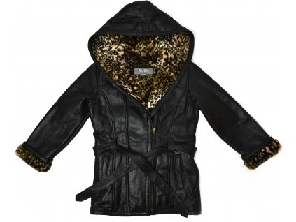 KOŽENÝ dívčí černý měkký křivák s páskem, kapucí a kožíškem Wilsons Leather