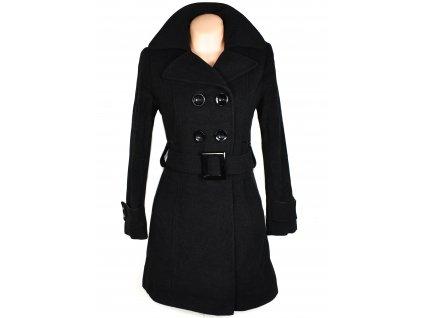 Vlněný (70%) dámský černý kabát s páskem (vlna, kašmír) S/M