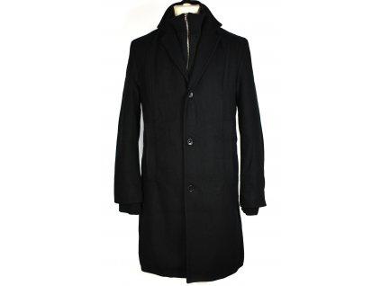 Vlněný pánský černý zimní kabát SMOG L