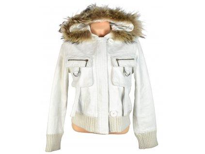 KOŽENÁ dámská bílá měkká zateplená bunda s kapucí, pravý kožíšek Chapelle 38