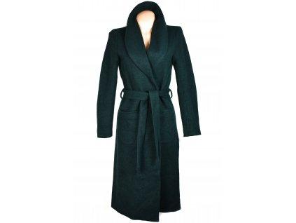 Vlněný dámský dlouhý zelený kardigan kabát s páskem ONLY M